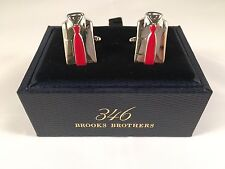 NIB Brooks Brothers 346 Stainless Steel Cuff Links Shirt & Red Tie Design