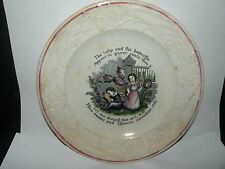 ANTIQUE STAFFORDSHIRE MEAKIN ABC CHILD'S PLATE tulip and the butterfly