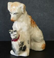 """ANTIQUE STAFFORDSHIRE POTTERY 6.25"""" SEATED DOG & CUTE KITTEN CAT ORNAMENT FIGURE"""