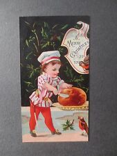 Antique Christmas Card Small Boy Cutting Pudding Robins Victorian CHROMO 1877