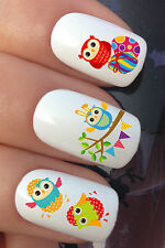 NAIL ART SET #640 x24 EASTER OWL TREE BUNNY EGGS WATER TRANSFER DECALS STICKERS