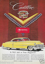 CADILLAC 1953 2 DOOR COUPE YELLOW HARRY WINSTON JEWELS ADD TO HAPPINESS AD