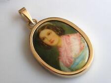 Antiker Anhänger 585°Gold Porzellan Portrait junge Dame Jugendstil 1910