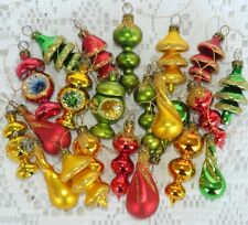 22 Vintage Miniature Glass Christmas Tree Ornaments Finials Indents Teardrop