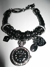 Excellanc*Bettelarmband*Uhr*Charms*Strass*Anthrazit* Lederband Schwarz