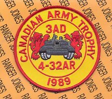 4th Bn 32nd Armor 3rd AD THE ROCK CAT 1989 Canadian Army Trophy tank patch