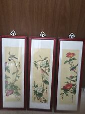 Chinese Framed Bird Picture Set Of 3