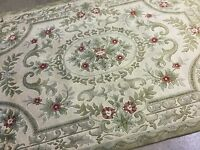 5.6 x 8 Beige Green Aubusson French Oriental Area Rug Floral Hand Knotted Wool