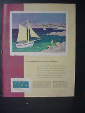 1951 De Beers Diamond Jewelry Sailing Honeymoon Jean Hugo Vintage Print Ad 11243