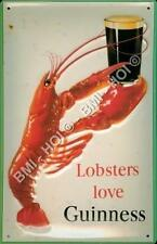 """Lobster's love Guinness Large Metal Sign 12"""" x 8"""" inches - old advert by Gilroy"""