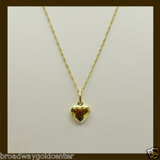 Heart Pendant w/ Link Chain in 14k Solid Yellow Gold