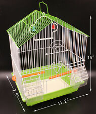 Bird Cage Kit Blue Starter Set Perches Swing Feeders Scalloped Top Small birds