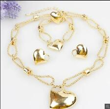 New arrival Jewelry Set 18K gold Plated heart design Necklace Earrings ring gift