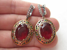 TURKISH OTTOMAN RUBY EMERALD 925K STERLING SILVER HURREM SULTAN EARRINGS