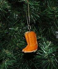 Pair of Light Amber Mini Leather Cowboy Boots Western Christmas Ornament