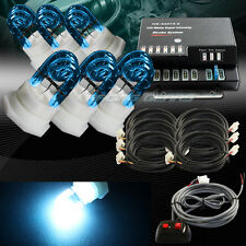 120W 6-HID BLUE BULBS HIDE A WAY EMERGENCY WARNING FLASH STROBE LIGHT UNIVERSAL