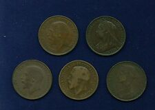 """ENGLAND """"PENNY"""" COINS: 1887, 1898, 1918-H, 1919, & 1919, GROUP LOT OF (5)"""