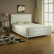 4FT6 WHITE FAUX LEATHER BED FRAME WITH LARGE DIAMANTES DOUBLE BED