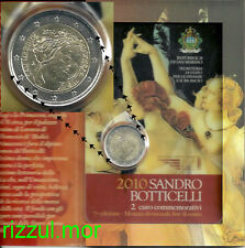 2 EURO 2010 SAN MARINO 500th MORTE di SANDRO BOTTICELLI in folder ufficiale!!!