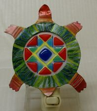 VTG Colorful TIN SLAG glass Sea Turtle Night Light w Stained Beads  Ocean Beach
