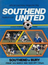 Southend United V Bury ,  1980 , Football League Division 3 , match  Programme