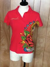 WOMEN'S ED HARDY SHORT SLEEVE POLO SHIRT-SIZE: SMALL