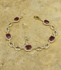 "RARITIES CAROL BRODIE RUBY AND WHITE ZIRCON VERMEIL 7-1/2"" LINE BRACELET HSN"