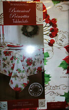 CHRISTMAS FABRIC TABLECLOTH CARDINALS POINSETTIAS RED WHITE GREEN 60 x 104 RECT.
