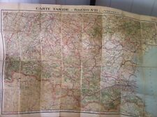 Vintage Map France Linen Backed Fold Driving, & cycling Routes Pyrenees Toulouse