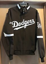 LOS ANGELES DODGERS MLB MAJESTIC AUTH BROWN & WHITE JACKET MENS LRG THERMA BASE