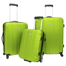 Traveler's Choice Rome 3-Piece Green Light Hardcase Spinner Rolling Luggage Set