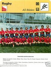 FICHE CARD:   AS Béziers Esprit collectif  Photo Equipe RUGBY 70s