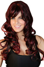 Fabulous Long Flowing Brunette Red Brown Hair Fancy Dress Outfit Wig - One Size