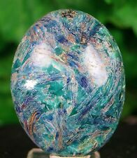 kyanite Mineral specimen hand polished emerald blue stone Oval Shape 112 Grams
