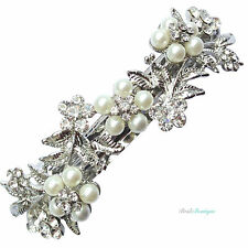 Bridal Wedding Vintage Flower Silver Crystal Pearl Barrette Hair Clip Grip CL14