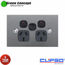 NEW Flat Stainless Steel Double Power Point GPO Socket with Extra Black Switch