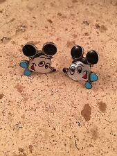 Zuni Sterling Silver And Multi Stone Inlay  Mickey Mouse Post Earrings Signed