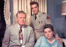 Elvis Presley in Army Uniform with His Parents at Graceland Memphis TN Postcard