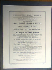 1911 advert, auction,entire contents,19,bruton st,berkeley sq,w.