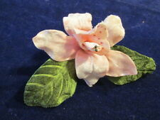 "Vintage Millinery Flower 5"" Pink Velvet Orchid or Lily for Hat + Hair Y237A"