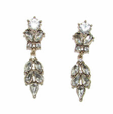 Silver Art Deco Diamante Earrings 1920s Vintage Stud Bridal Bronze Drop 40s 1065