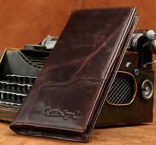 Men's Vintage Genuine Leather Wallet Long Bifold Money Card Holder Clutch Purse