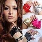 New Women Punk PU Leather Driving Biker Fingerless Mittens Dance Gloves 9 Colors