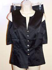 Sexy RAMPAGE Black Stretch Satin 2-PC Tuxedo Skirt Suit w/Rhinestone Accent SZ 7