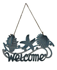 Beach Welcome Cast Iron Sign | Beach Coastal Decor Hanging Metal Plaque