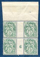 Blanc N° 111 5c vert millésime 1906 en bloc de 4 haut de feuille