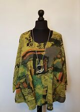 New ITALIAN LaGeNLooK QUIRKY LAYERING ABSTRACT SCRIPT pocket BOXY boho top 14-22