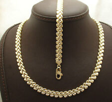 All Shiny Basket Weave Design Bracelet Necklace Set 14K Yellow Gold Clad Silver