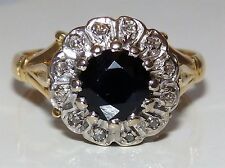 VINTAGE 18CT GIALLO ORO 1CT sapphire & diamond cluster incastro Kate Anello