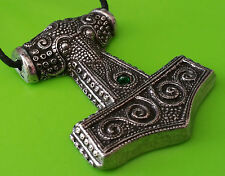 Pewter Viking Skane Thor's Hammer Mjölnir Replica Pendant Necklace  Green Jewel